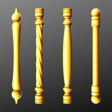 Gold door handles, column and twisted knobs bar shapes isolated on transparent background. Golden doorknob elements for interior design, yellow metal home decor, Realistic 3d vector icons, clipart set