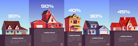 Business infographic of real estate sale and rent. Vector column chart with cartoon illustration of suburb houses and percents. Apartment, residential buildings and cottages for sale Illusztráció