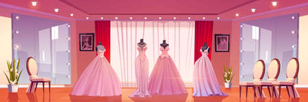 Bridal shop interior with wedding dresses on mannequins and large mirrors with lighting. Empty boutique for selling bride gowns, showroom with fashioned women dressing, Cartoon vector illustration Vectores