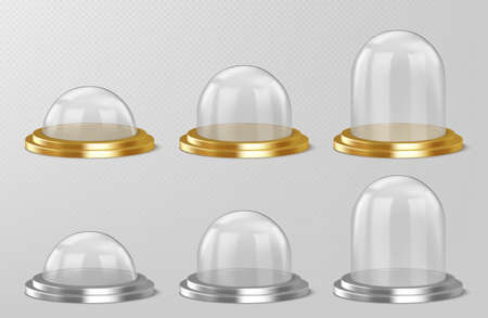 Realistic glass domes, christmas snow globe souvenirs, isolated crystal semisphere containers on silver and golden base small, medium and large size. Festive xmas gift mock up, Realistic 3d vector set