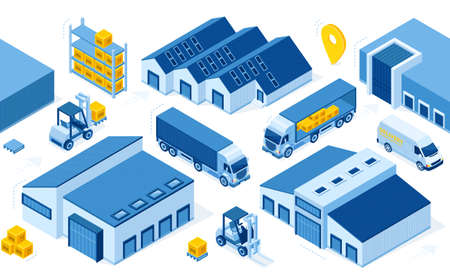 Warehouse industry with storage buildings, trucks, forklift and rack with boxes. Vector isometric set of storehouse, pallet, lorry and loader. Distribution logistic and cargo delivery concept