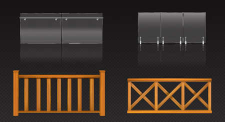 Glass balustrade with metal banister and wooden fence for balcony, terrace or pool. Vector realistic set of clear plexiglass barrier with steel handrails and railing from wood planks