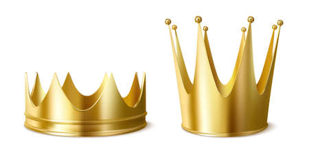 Golden crowns for king or queen, low and high crowning headdress for Monarch Person. Royal gold monarchy medieval emperor coronation symbol, isolated imperial sign, Realistic 3d vector illustration