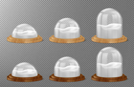 Christmas snow globes on wooden base isolated on transparent background. Vector realistic mockup of glass or clear plastic dome different shapes with white snow. Winter crystal ball on wooden stand Vectores