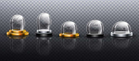 Broken glass domes on metal, gold and silver podium. Vector realistic mockup of empty clear acrylic bell jar with cracks and fracture. Damaged snow balls isolated on transparent background