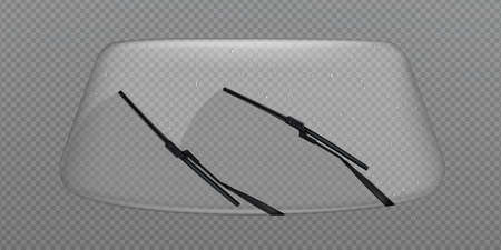 Car wiper clean windscreen, glass windshield with rain drops, automobile front window automatic cleaner, vehicle washing isolated on transparent background, Realistic 3d vector illustration, clip art