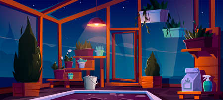 Glass greenhouse with plants, trees and flowers at night. Vector cartoon interior of empty hot house for cultivation and growing garden plants in pots inside. Botanical nursery for greenery Stock Illustratie