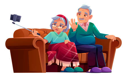Old man and woman take selfie on smartphone with monopod. Vector cartoon illustration of elderly couple seat on sofa and making photo together on mobile phone with selfie stick Vectores