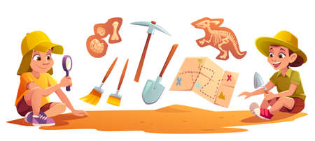 Kids playing in archaeologists working on paleontology excavations digging soil with shovel and exploring artifacts with magnifying glass. Children study dinosaurs fossil. cartoon vector illustration
