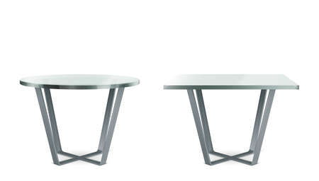 Modern tables with round and square glass top. Vector realistic set of cocktail, coffee or dining table with metal cross legs and clear plexiglass top isolated on white background