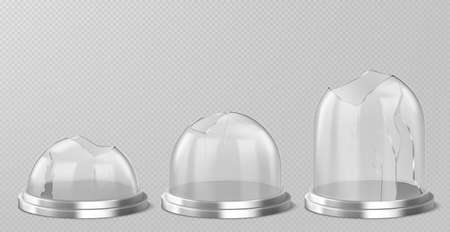 Broken glass domes on silver podium. Vector realistic mockup of empty clear acrylic bell jars with cracks and holes. Damaged snow balls on metal stand isolated on transparent background