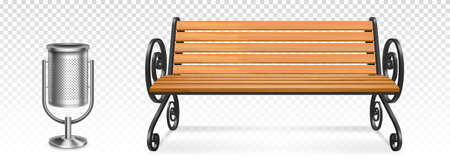 Wooden park bench and steel litter bin, outdoor wood seat with forged curly metal legs and armrests and garbage container. Realistic 3d vector city outdoor furniture isolated on transparent background