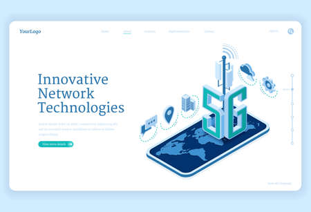 5g network technologies isometric landing page. Innovative wireless mobile telecommunication new generation cell service. Smartphone with world map, internet speed connection 3d vector web banner