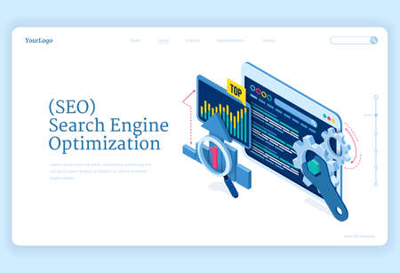 SEO search engine optimization isometric landing page. Technology for internet marketing and digital business content. Computer devices desktop with gears and analysis charts, 3d vector web banner