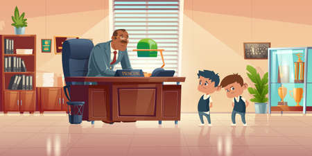 Teacher meeting with kids in principals office. Vector cartoon illustration of kind man school headmaster talk with two guilty boys. Administration cabinet with director and students Ilustración de vector