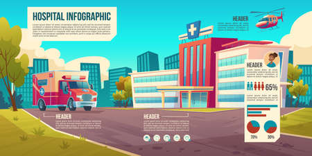 Medicine infographic background with hospital building, ambulance car and helicopter. Vector cartoon cityscape with medical clinic on town street and information elements, charts, icons and data