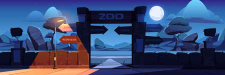Zoo entrance with wooden board on arch at night. Vector cartoon landscape with entry gates to zoological garden, direction signs to different animals, stones, trees and moon in sky Vectores