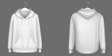 Hoody, white sweatshirt on hanger mock up front and back view. Isolated hoodie with long sleeves, kangaroo muff pocket and drawstrings. Sports, casual urban clothing, Realistic 3d vector mockup