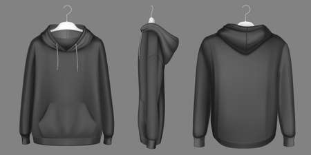 Hoody, black sweatshirt on hanger mock up front, side and back view. Isolated hoodie with long sleeves, kangaroo muff pocket and drawstrings. Sports, casual urban clothing, Realistic 3d vector mockup Vectores