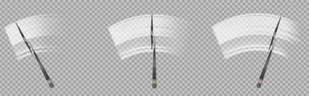 Wipers clean car windscreen. Wiper blades washing windshield window from dirt and dust. Vector realistic set of vehicle automatic equipment for rubbing glass isolated on transparent background