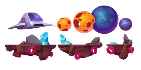 Space game platform, cartoon arcade isolated elements spaceship, flying rocks and alien planets for computer or mobile 2d gui design. Cosmos adventure, universe futuristic vector illustration set Иллюстрация