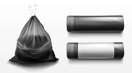 Black plastic bag for trash, garbage and rubbish. Vector realistic mockup of polyethylene trashbag in roll and full of waste. Tied sack with refuse isolated on transparent background Vectores