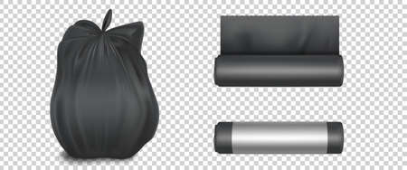 Black plastic bag for trash, garbage and rubbish. Vector realistic mockup of polyethylene trashbag in roll and full of waste. Tied sack with refuse isolated on transparent background Иллюстрация