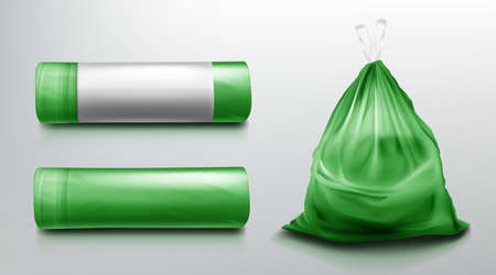 Trash bag mockup, plastic roll and sack full of garbage. Green disposable package for rubbish mock up. Household supplies for waste throw isolated on grey background. Realistic 3d vector illustration Иллюстрация