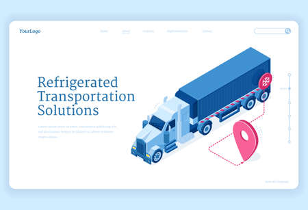 Refrigerated transportation isometric landing page, truck delivery service solutions. Van fridge with cold freight riding route with gps navigator pin shipping goods, distribution 3d vector web banner