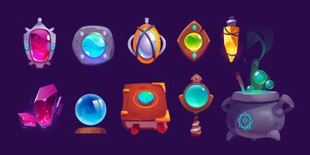 Magic amulets, crystal, book of spell and cauldron with boiling potion. Vector cartoon icons set, gui elements for game about witchcraft or wizard isolated on background Иллюстрация