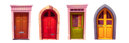 Wooden arch front doors with stone doorway isolated on white background. Vector cartoon set of house entrance, red, green and yellow closed gates with knobs and windows. Building facade elements