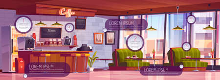 Coffee shop interior with infographic elements. Vector cartoon illustration of empty cafe with wooden counter, stools, sofas and tables. Coffee bar with icons and information banners