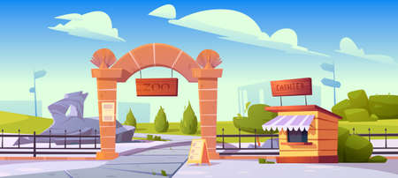 Zoo entrance with wooden board on stone arch and cashier booth. Zoological garden for wild animals. Vector cartoon landscape with entry gates, metal fence, signboard and green bushes