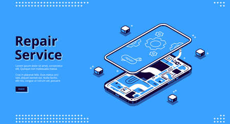 Repair service isometric landing page, disassembled mobile phone fixing, smashed smartphone with microcircuit and screen with gears, broken electronics device touchscreen 3d vector line art web banner