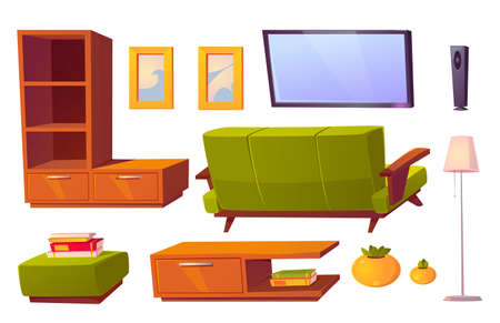 Living room interior set with green sofa, bookshelves and tv. Vector cartoon furniture collection for house, pouf, picture frames, floor lamp and rear view of couch isolated on white background Иллюстрация