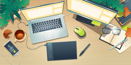 Top view of designer workspace with graphic tablet, laptop, monitor, coffee cup and plants on wooden table. Vector cartoon flat lay of creative artist workplace with mobile phone and notebook