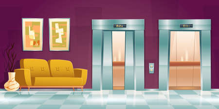 Hallway with lift doors, empty lobby interior with couch, slightly ajar and open elevator gates. Office or hotel with passenger cabins, button panel and floor indicator, Cartoon vector illustration