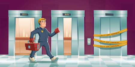 Repair man and out of order elevator with yellow stripes in house or office hallway. Vector cartoon corridor with open lift doors and mechanic with tool box. Maintenance service of broken elevator Иллюстрация