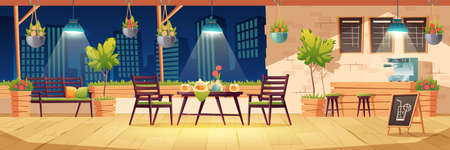 Summer terrace, night outdoor city cafe, coffeehouse with wooden table, chairs, illumination and potted plants, chalkboard menu on cityscape view. Modern street cafeteria, Cartoon vector illustration