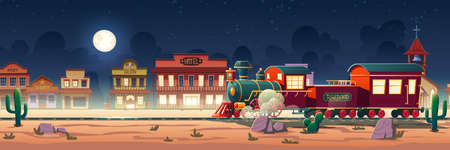 Wild west steam train at night western town with railroad, vintage locomotive, desert landscape, cacti and old wooden city buildings hotel, post, saloon, sheriff and church cartoon vector illustration 矢量图像