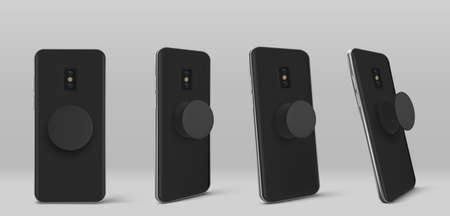 Smartphone with pop socket holder on back in different angles view. Vector realistic mockup of black mobile phone with circle pop grip and stand isolated on grey background