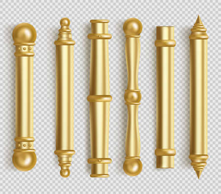 Baroque gold door handles for room interior in office or home. Vector realistic set of vintage golden long door pull knobs. Bar shape handles with balls isolated on white background