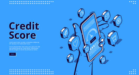 Credit score isometric landing page, hand holding smartphone with application meter. Bank consumer loan personal rating and risk control banking mobile service, 3d vector line art web banner template