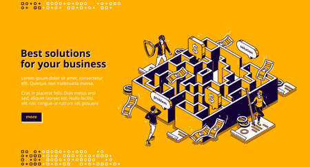 Best business solutions isometric landing page, businessman looking for way to solve problem through maze, employee passing labyrinth, challenge overcoming, aim achieving 3d vector line art web banner