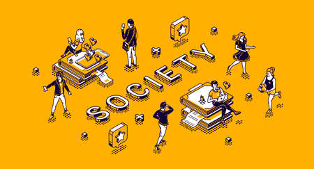 Society isometric concept with tiny characters living routine. People using gadgets, engage sports activity, communicate in internet networks, studying and working 3d vector line art illustration Иллюстрация