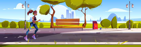 Young woman run in town park at morning. Vector cartoon illustration with cityscape, trees and runner girl in headphones. Concept of healthy lifestyle, fitness outdoor and jogging