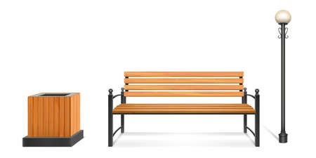 Wooden park bench, street lamp and litter bin, outdoor wood seat with forged legs and armrests, lantern on metal pole and garbage container. City or park sidewalk furniture. Realistic 3d vector set