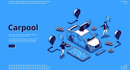 Carpool banner. Cab sharing concept, carpooling for travel and road trip. Vector landing page of community drivers and passengers with isometric people, vehicle and application on phone Иллюстрация