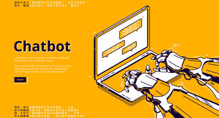 Chatbot with artificial intelligence typing message in support chat. Virtual assistant with ai, digital service for online communication. Vector landing page with isometric robot hands and laptop