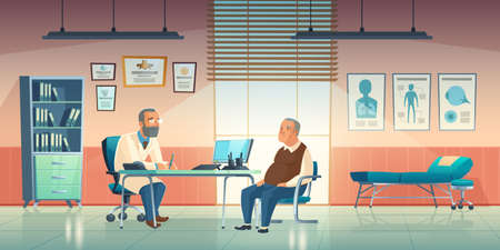 Doctor and patient sit in medical office. Vector cartoon illustration of cabinet interior in hospital or clinic with male physician and elderly man. Medic consultation concept